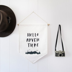 Hello adventure wall flag