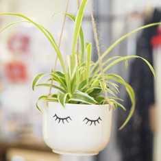 Ceramic eyes shut hanging planter