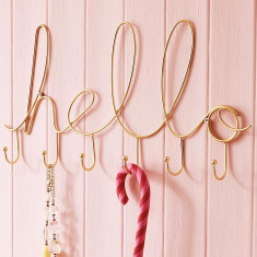 Shiny Gold Hello Script Wire Hook