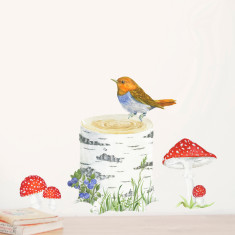 Tree Trunk, Bird & Toadstools Wall Sticker