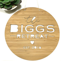 The retreat personalised bamboo wall hanging (2 sizes)