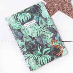 Palm Leaf Design Copper Monogram Notebook