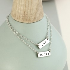 Personalised Friendship Names Bar Necklace Set