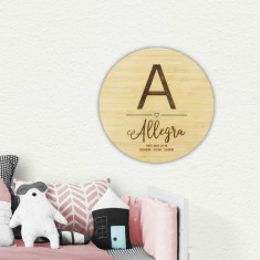 Girls' Personalised Initial Birth Details Wall Plaque