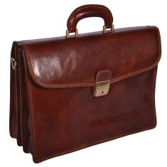 Preston leather laptop briefcase in brown