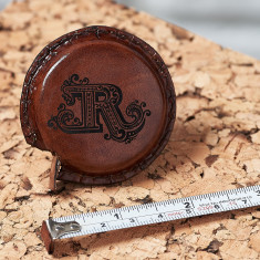 Personalised Tan leather tape measure with initial