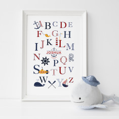 Personalised kids' nautical alphabet print