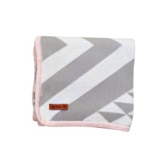 Grey & white Aztec blanket with pink trim