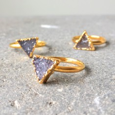 Mini Drusy Triangle Stacking Ring