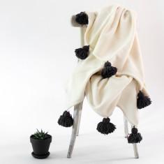 Pom Pom Merino Wool Throw Rug in Natural