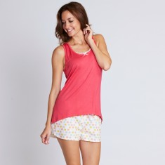 Leura spot pyjamas in watermelon & beige