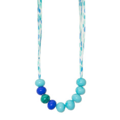 Turquoise confetti glass necklace with silk