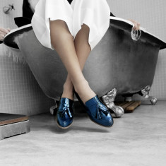 Ecstasy Classic Tassel Leather Loafers - Metallic Cobalt Blue