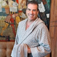 Unisex bathrobe in raised diamond design in Paloma grey