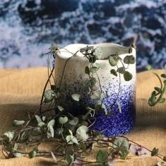 Large Hanging Pot - Blue Splatter