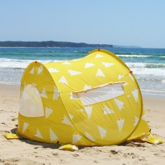Pop up beach tent in Paper Planes print