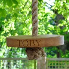 Personalised Round Oak Garden Swing