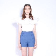 A Game High Waisted Denim Shorts