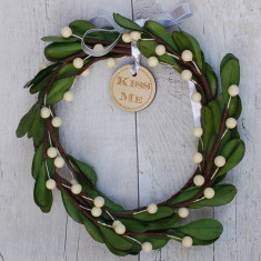 Kiss Me Faux Mistletoe Wreath Decoration