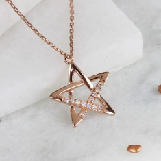 Rose Gold Star Necklace with Pave Crystals