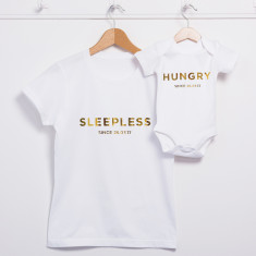 Personalised Sleepless Hungry Mum And Me T Shirt Set