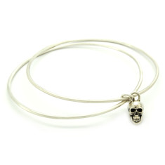 Twin Bangle With Skull Charm in Sterling Silver