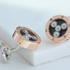 Rose Gold Mechanical Gear Cufflinks