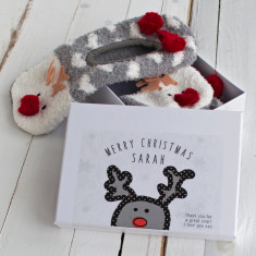 Reindeer Slippers in a gift box
