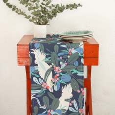 Moreton bay fig & cockatoo table runner in navy