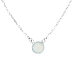 Tablet single stone necklace with aqua chalcedony in silver