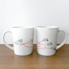 Just married car couple's coffee mugs (set of 2)