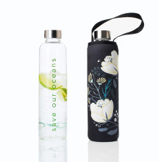 Glass is greener 750ml bottle with orient print carry cover