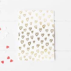 Gold or silver foil hearts greeting card