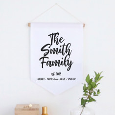 Our Family personalised pennant wall banner