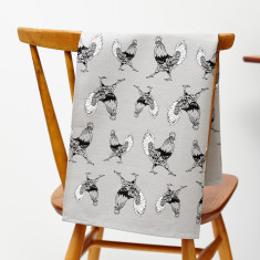Strutting cockerel tea towel