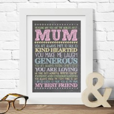 Personalised best grandma or mum print