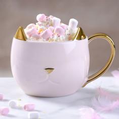 Pink Ceramic Cat Mug