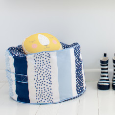 Navy stripy dot bean ottoman Cover