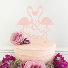 Personalised Flamingos Wedding Cake Topper