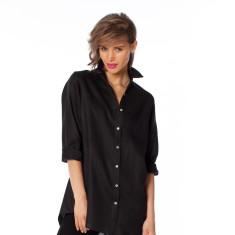 Black Italian linen classic shirt