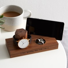 Solid Walnut Personalised Bedside Watch And Phone Stand On Front Standard Size