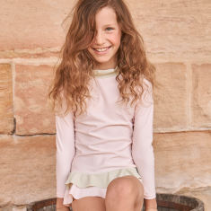 Girl's Positano Rash Vest - Pink & Pistachio