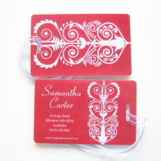 Personalised luggage tags in red floral (set of 5)
