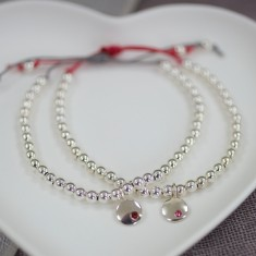Silver birthstone friendship bracelet