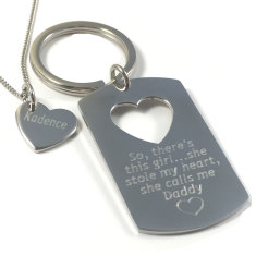 Daddy & daughter key ring and necklace set