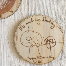 Set of 2 personalised Father's Day wooden drink coasters with your child's hand-drawn image