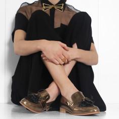 Ecstasy tassel loafers in metallic bronze