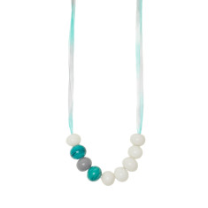 Teal green glass necklace with silk