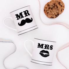 Mr & Mrs Moustache Mugs