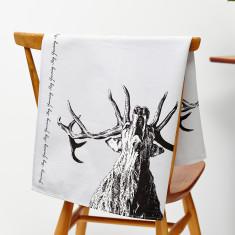 Yawning stag tea towel